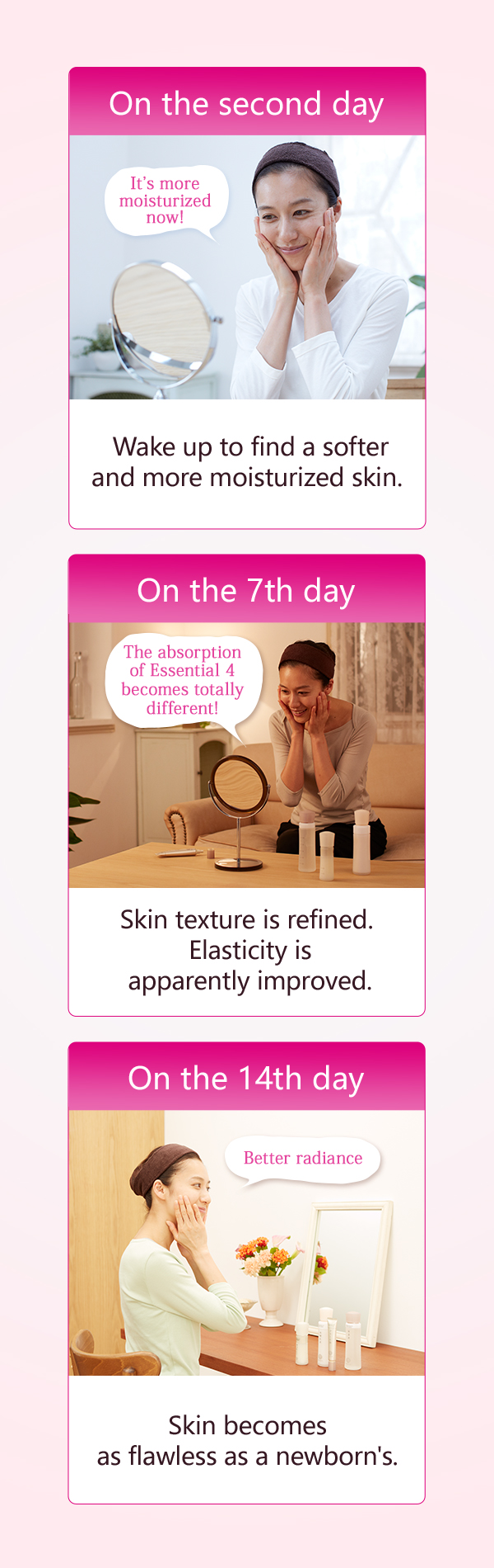 On the second day Wake up to find a softer and more moisturized skin. On the 7th day Skin texture is refined. Elasticity is apparently improved. On the 14th day Skin becomes as flawless as a newborn's.
