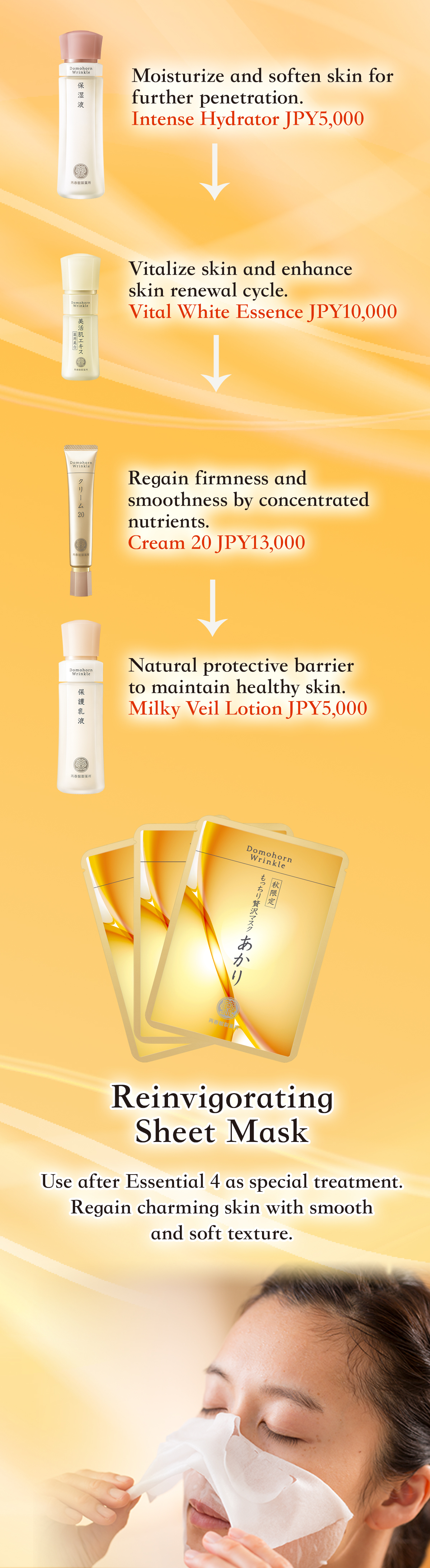 Moisturize and soften skin for further penetration. Intense Hydrator JPY5,000 Vitalize skin and enhance skin renewal cycle. Vital White Essence JPY10,000 Regain firmness and smoothness by concentrated nutrients. Cream 20 JPY13,000 Natural protective barrier to maintain healthy skin. Milky Veil Lotion JPY5,000 Reinvigorating Sheet Mask Use after Essential 4 as special treatment. Regain charming skin with smooth and soft texture.